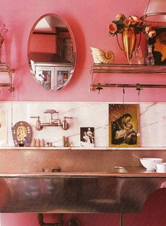 Bubble gum pink walls. Kitchen of Betsey Johnson's former NYC home. Elle Decoration UK