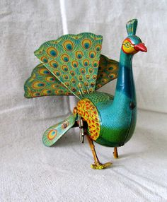 Vintage Toy  Wind Up Tin Peacock  1940's by ProvenceArtAntiques, $135.00