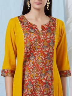 The Loom- An online Shop for Exclusive Handcrafted products comprising of Apparel, Sarees, Jewelry, Footwears & Home decor. Printed Kurti Designs, Simple Kurti Designs, Churidar Designs, Fancy Blouse Designs, Kurta Designs Women, Dress Neck Designs, Designs For Dresses, Pakistani Fashion Party Wear, Pakistani Dress Design