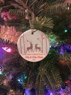 Newlywed Winter Deer Ornament | Personalized Holiday Ornament | Personalized Gift | Customer Photo | peachwik.com