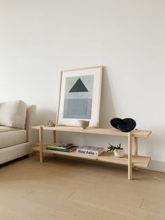 Modern Nordic Low shelving unit with a Scandinavian vibe. Shelves and legs made from solid wood. Wooden Shelving Units, Modern Shelving, Wood Shelves, Custom Furniture, Furniture Design, Nordic Furniture, Hanging Clothes Racks, Minimal House Design, Scandinavian Shelves