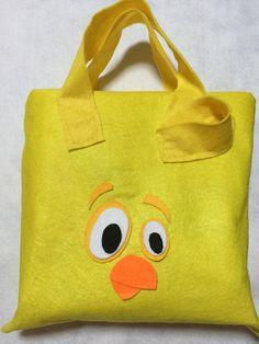 Felt made Little Yellow Chickadee for Lottie Dottie Chicken party favor bag