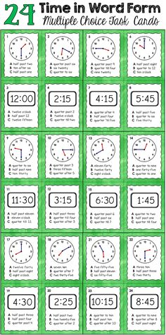Time in Word Form Task Cards with ready-to-use images for Plickers - Includes 24 task cards (in color as well as B&W), recording pages, and a practice activity. $