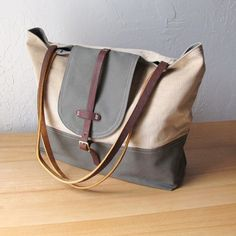 2Tone+Flap+Tote+in+Olive+and+Sand+by+infusion+on+Etsy