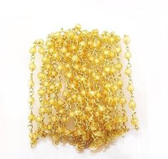 Yellow Zircon Faceted Beads Rosary 2.5-3mm 24k Gold Plated