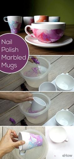 A whole new meaning to nail polish art! Did you know you can make marbled mugs using nail polish and water? So beautiful and easy to DIY, you'll make so many of these in one afternoon.  http://www.ehow.com/how_12343816_diy-nail-polish-marbled-mugs.html?utm_source=pinterest.com&utm_medium=referral&utm_content=freestyle&utm_campaign=fanpage