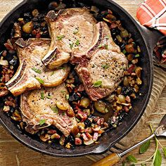 Pork Chops with Chestnuts, Onions, and Dried Plums From Better Homes and Gardens, ideas and improvement projects for your home and garden plus recipes and entertaining ideas.