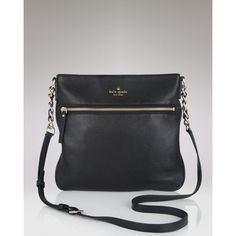 kate spade new york Cobble Hill Ellen Crossbody (340 CAD) ❤ liked on Polyvore featuring bags, handbags, shoulder bags, black, leather crossbody purse, crossbody shoulder bag, kate spade handbag, crossbody purses and leather shoulder bag