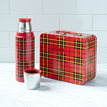 plaid metal lunch box and coordinating thermos