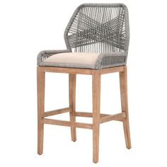 """Dimensions: W:23.5"""" D:22"""" H:44.5"""" Seat height: 30"""" Light Gray Cushion, Stone Wash Mahogany Upholstered removable seat cushion Intricate rope weave design Please"""