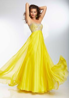Colorful Rhinestone Beaded Cutout Back Yellow Prom Dress | Divat ...