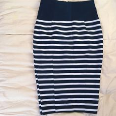 Dark Blue Stripped Pencil Skirt Fitted pencil skirt. Can dress up or down. Only worn once. H&M Skirts Pencil