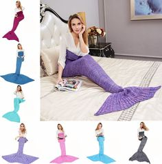 """""""Mermaid Tail"""" Knitted Blanket (8 Colors)"""