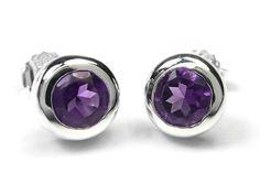 For a look that reads eclectic and elegant, give these bezel-set gemstone earrings a swirl. From Or Paz(R) Sterling Silver Jewelry. Solitaire Earrings, Gemstone Earrings, Sterling Silver Earrings, Silver Rings, Jewelry Shop, Jewelry Art, Bridal Jewelry, Amethyst Pendant, Amethyst Stone