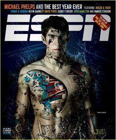 Michael Phelps Covers ESPN Magazine. Super cool cover!