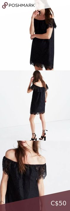 NWOT Madewell Dusklace Off-the-Shoulder Dress A flattering feminine dress in a special floral lace with gently scalloped edges. Undeniably pretty with Madewell's favourite off-the-shoulder ruffled neckline (bonus: tuck away the spaghetti straps for an even barer look). -adjustable spaghetti straps -elasticized neckline -fully lined -mid-thigh length -64% cotton 36% nylon -100% polyester lining *Note: size tag has been removed from the garment. In excellent pre-owned condition; no tears…