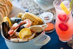 Crab Boil w/ a Strawberry Lemonade Sparkler!  2 oz. strawberry infused Svedka vodka   2 oz. simple syrup   2 oz. fresh lemon juice   Top with sparkling wine   Garnish with strawberries and mint