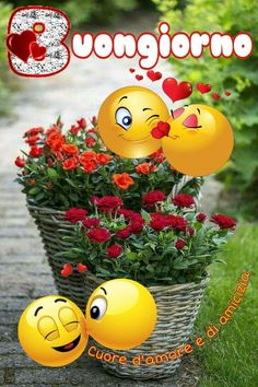 Smileys, Italian Greetings, Smiley Emoji, Christmas Images, Vignettes, Flower Power, Decir No, Good Morning, Joy