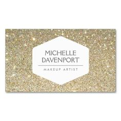 ELEGANT WHITE EMBLEM ON GOLD GLITTER BACKGROUND BUSINESS CARD TEMPLATES. Make your own business card with this great design. All you need is to add your info to this template. Click the image to try it out!