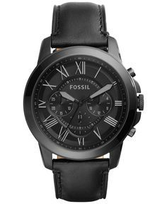 Fossil Men's Chronograph Grant Black Leather Strap Watch 45mm FS5132 - Men's Watches - Jewelry & Watches - Macy's