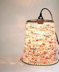 Pendant Light from Old Wire Waste Basket w/directions