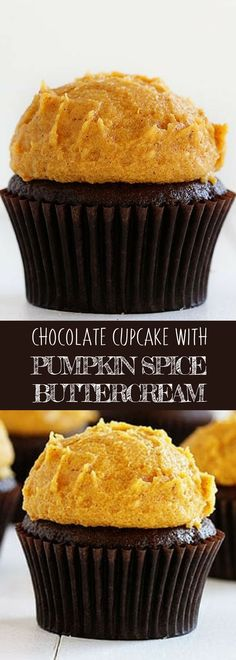 CHOCOLATE CUPCAKE WITH PUMPKIN SPICE BUTTERCREAM | These dark Chocolate Cupcakes are paired with the most delicious and perfectly spiced Pumpkin Buttercream! Your kids will find this amazing!   For more simple and easy dessert recipes to make, check us out at #iambaker. #cupcakes #foodlover #desserts #yummydesserts #recipeoftheday