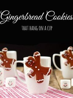 Gingerbread Men Coffee Cup Cookies Decorated Christmas Cookies | The Bearfoot Baker #bearfootbaker #decoratedcookies #edibleart #cookieart #royalicing #rolloutcookies #simplecookietutorial #Christmas #Christmascookies #cookietutorial #gingerbreadman #cookiesforsanta #tistheseasoncookies