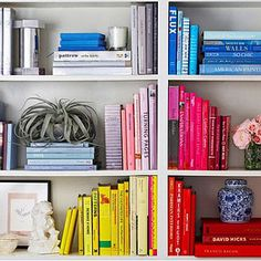 Color code your shelves to create the look of structure. | 19 Foolproof Ways To Make A Small Space Feel So Much Bigger