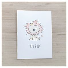 YOU RULE // Watercolour Lion Card - watercolour lion, friendship card, homemade card, punny card, witty card, funny lion, handmade lion, pun by kenziecardco on Etsy https://www.etsy.com/ca/listing/255561974/you-rule-watercolour-lion-card