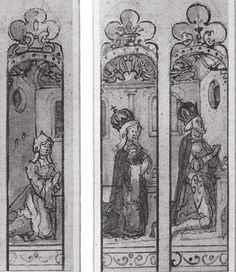 Henry VIII, Catherine of Aragon, and Princess Mary in prayer, stained glass window design by lisby1, via Flickr