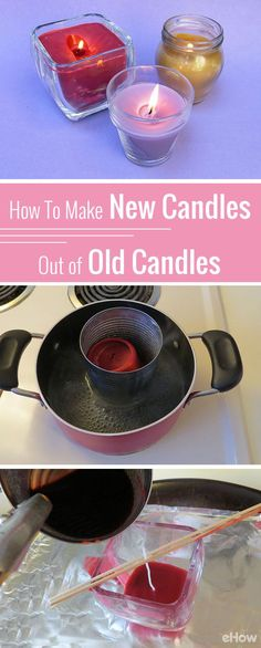 An easy solution to use those left over pieces from old candles! Melt them and combine them together to make new wax candles you can use. Great upcycle for the winter and holiday season: http://www.ehow.com/how_7709554_melt-candles-make-new-candles.html?utm_source=pinterest.com&utm_medium=referral&utm_content=freestyle&utm_campaign=fanpage