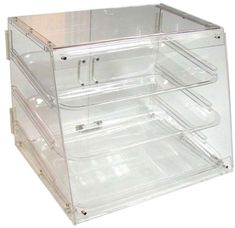 Update International APB-2117 Acrylic 3 Tray Display Case For displaying cupcakes and small cakes for sale at the Farmers Market