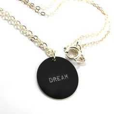 Handstamped  and Personalized Black Charm Necklace by SariGlassman, $38.00
