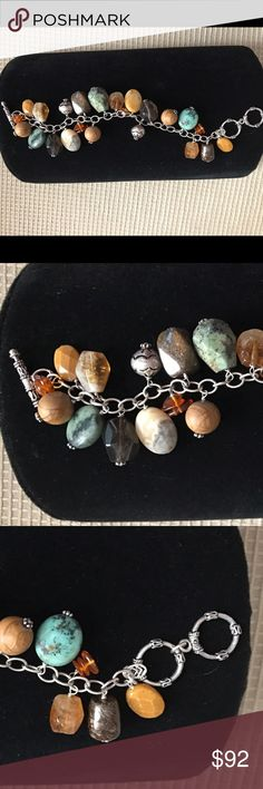 """Silpada Sterling Silver Bracelet with Quartz Up to 8"""" wrist. Multiple quartz and stones - see photos for full description! What is Silpada? Silpada is known for its high quality and unique designs. Silpada is known for its high-quality sterling jewelry pieces that are truly a work of art. Silpada Jewelry Bracelets"""