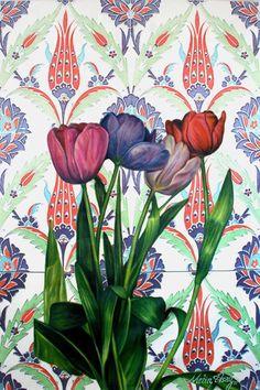 Painter & Artist Metin Asağ  Çinili İstanbul laleleri 104 x 150 cm yağlıboya  İstanbul Tulin oil on canvas