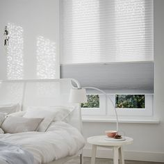 Scandi bedroom with Luxaflex Pleated blinds. Scandi Bedroom, Bedroom Bed, Modern Bedroom, Bedrooms, Honeycomb Shades, Cellular Shades, Home Design, Interior Design, Decoration Bedroom