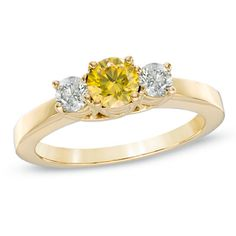 2 CT. T.W. Enhanced Yellow and White Diamond Three Stone Engagement Ring in 14K Gold