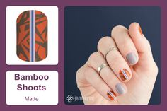 Trendy and unique, 'Bamboo Shoots' is any fashion-lover's must-have! With a matte finish and pop of purple, this nail wrap will quickly become a favorite one. #bevsjamminnails https://bkimball.jamberry.com/us/en/shop/products/bamboo-shoots#.VunCYuIrJD8