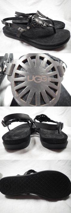 b6ac912c3754f5 Sandals and Flip Flops 62107  Ugg W Ayden Black Leather Womens Sandals Size  10 -  BUY IT NOW ONLY   59.99 on eBay!