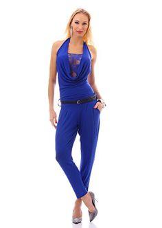 Damen Wasserfall Overall mit Spitze aus weichem dehnbarem Stretchstoff inkl. Gürtel Jumpsuit Einteiler Einheitsgröße 34/36/38 Blau