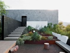 via Dwell Burnette sought to maintain the property's natural vegetation and rocky ground surface. Photo by Dean Kaufman. via Dwell Burnette sought to maintain the property's natural vegetation and rocky ground surface. Photo by Dean Kaufman. Modern Landscape Design, Modern Landscaping, Backyard Landscaping, Desert Landscape, Landscaping Ideas, Modern Backyard, Terraced Landscaping, Modern Design, Tiered Landscape