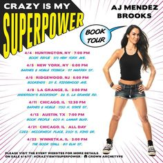 "Official AJ Mendez Brooks,Instagram(Dates for the BOOK TOUR of my AJ within April '2017-Marki): "" The official #CrazyIsMySuperpower book tour dates! Slight change to the 8th guys so if you're coming to meet AJ then check out the updated info. We'll see you there, can't wait.(orange explosion sign) - Team AJ "" Original Text by: "" @officialajmendez "", Instagram #BookTour #April2017 #Huntington #NewYork #Ridgewood #LaGrange #Chicago #Austin #Winnetka #AJMendezBrooks #MarkusMarzi"