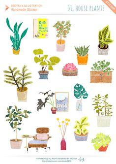 [뽀얀's수제스티커]손그림 일러스트-예쁜 식물 스티커/다꾸스티커,다이어리꾸미기 : 네이버 블로그