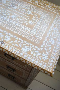 putting pattern on a pine chest of drawers when to stop, painted furniture, woodworking projects Chest Of Drawers Makeover, Small Chest Of Drawers, Stencil Dresser, Patterned Furniture, Funky Furniture, Plywood Furniture, Pine Wardrobe, Pine Chests, Painted Chest