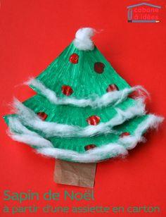 Un sapin de Noël à partir d'une assiette en carton Christmas Crafts For Kids, Christmas Art, Christmas Themes, Christmas Decorations, Xmas, Christmas Ornaments, Holiday Decor, Tissue Roll Crafts, Craft Stick Crafts