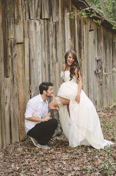 Our Barn Wedding Photography | Rustic Wedding | Bride and Groom Garter Pose