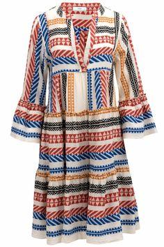 Devotion Damen Kleid Ella Bunt | SAILERstyle Bell Sleeves, Bell Sleeve Top, Body Shapes, Bunt, Looks Great, Kimono Top, Dress Up, Stylish, Cotton