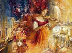 The artist Vjugova Rimma Nikolaevna Mardi Gras, Piano Y Violin, Circus Art, Vanitas, Cross Paintings, Classical Art, Russian Art, Sculptures, Art Gallery