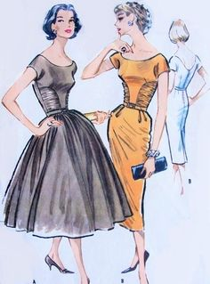 1950s Stunning Cocktail Evening Party Dress Pattern McCalls 4406 Full or Slim Skirt Striking Ruched Bodice Vintage Sewing Pattern Bust 32