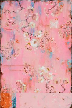 Pink Silk and White Roses (c) 2013 Kathe Fraga painting inspired by vintage French wallpaper www.kathefraga.com